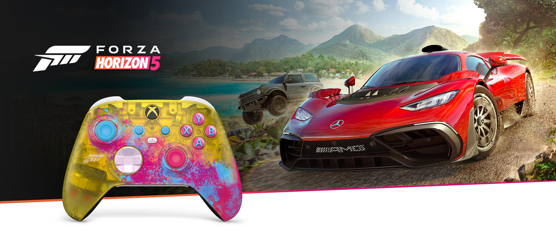 Xbox Wireless Controller Forza Horizon 5 in front of a close-up of the controller