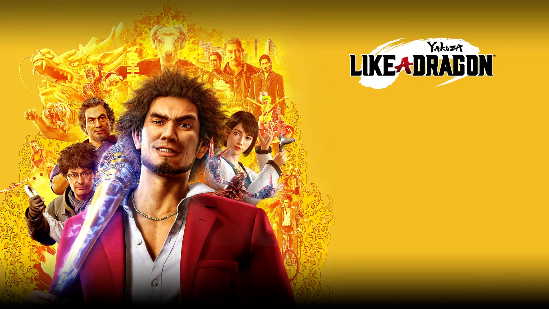 Yakuza Like a Dragon, Ichiban stands with an electrified bat, surrounded by characters from the game.
