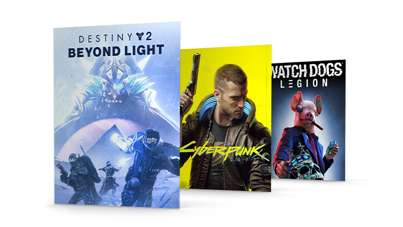 Box shots from Destiny 2: Beyond Light, Cyberpunk 2077 and Watch Dogs: Legion.