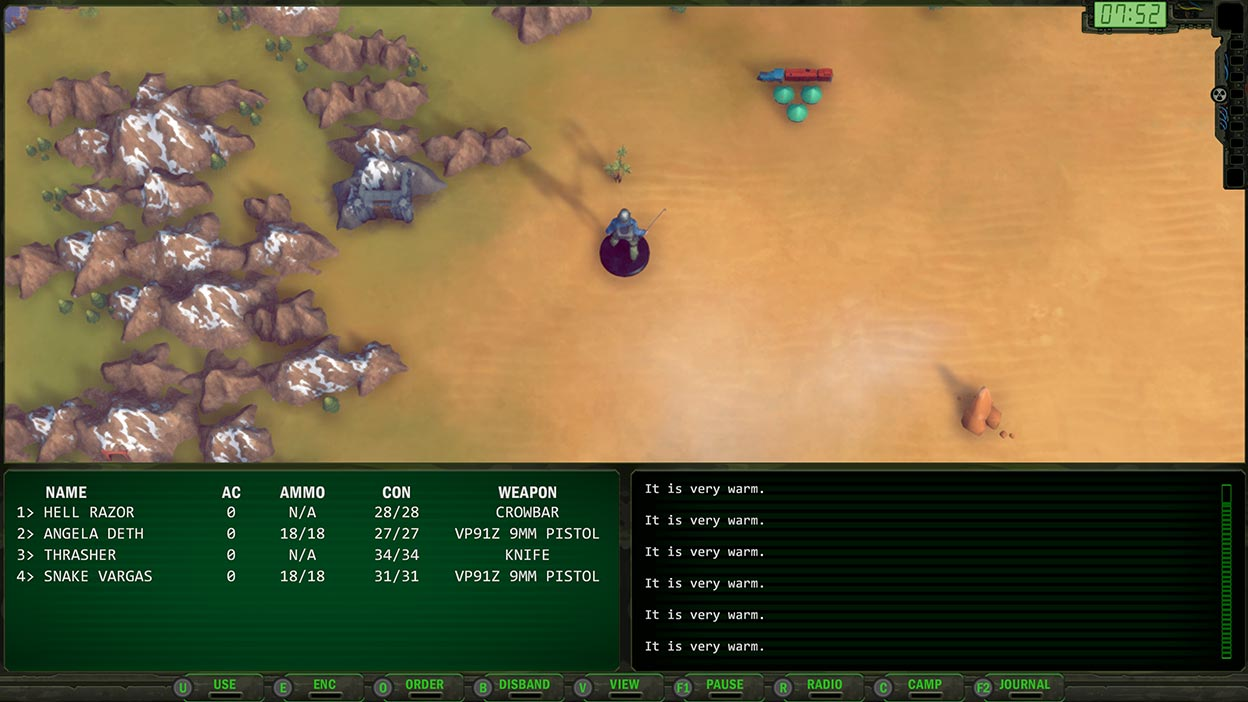 Screenshot of top-down view of a character exploring a desolate landscape