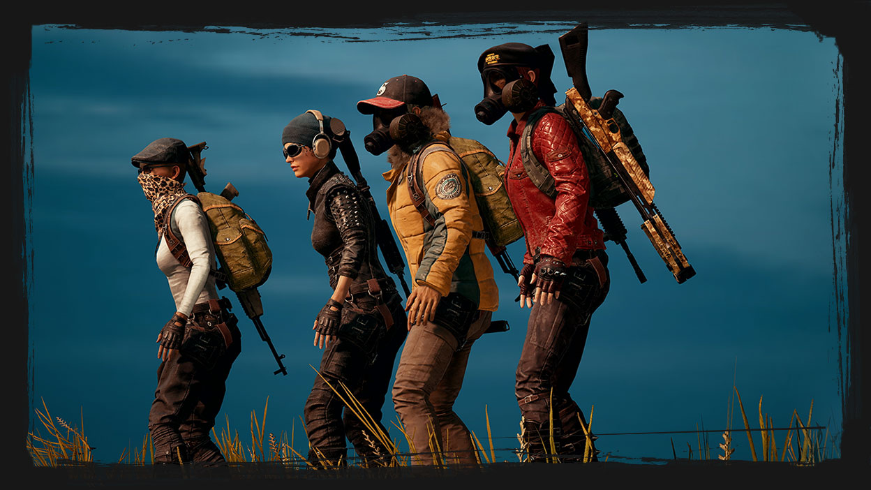 4 playable characters stand next to each other in different gear.