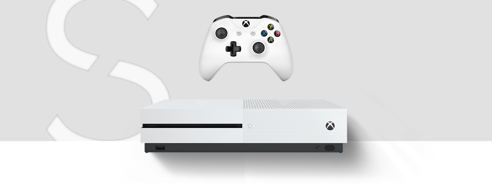 Front view of the Xbox One S console in front of a large stylized letter S