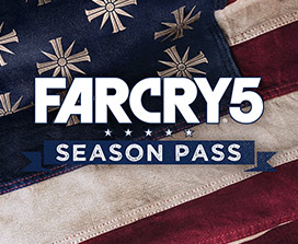 Far Cry 5 season pass logo on top of American flag