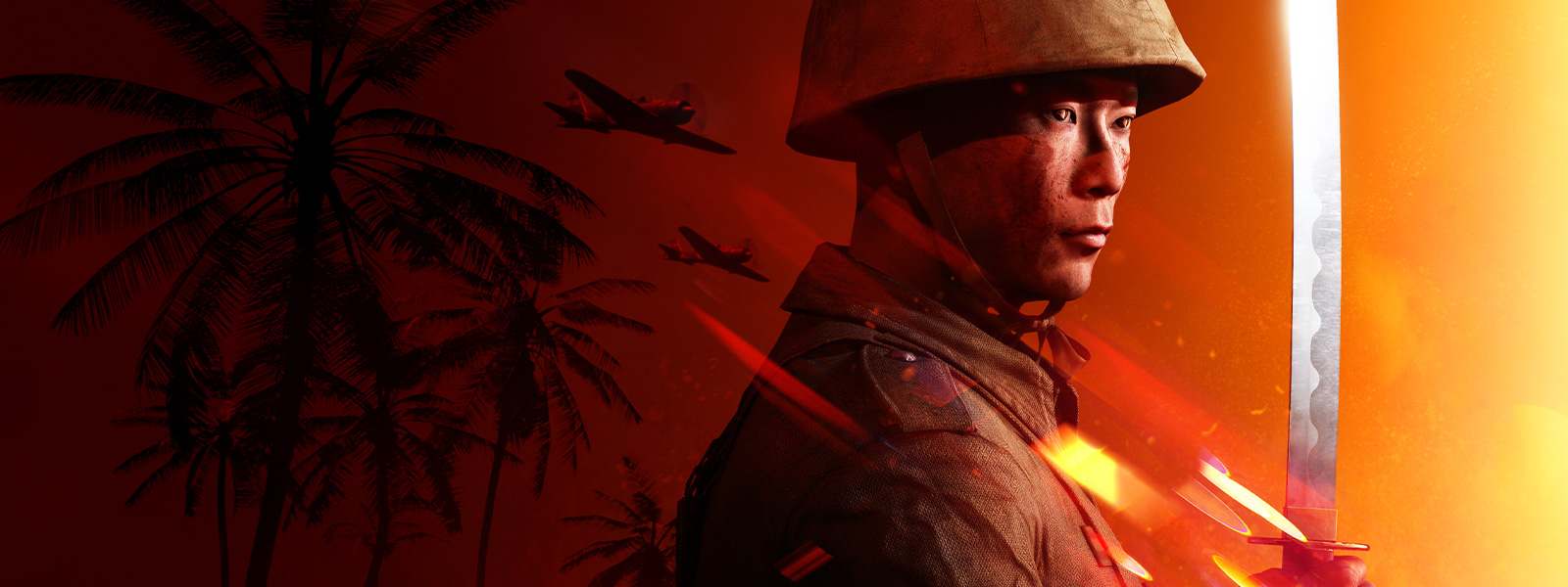 Solider in uniform looks to the right holding a katana, blood-orange background with war planes flying over palm trees