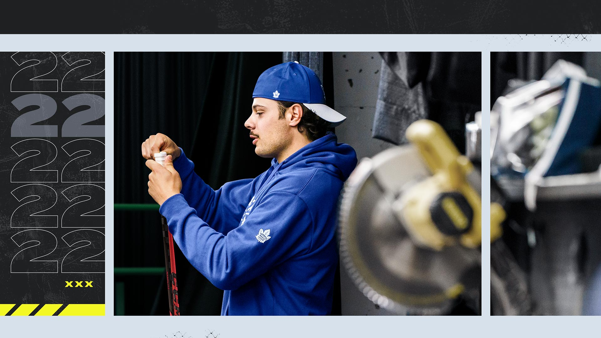 Auston Taylour Matthews surrounded by NHL 22 themed art regripping hockey stick.