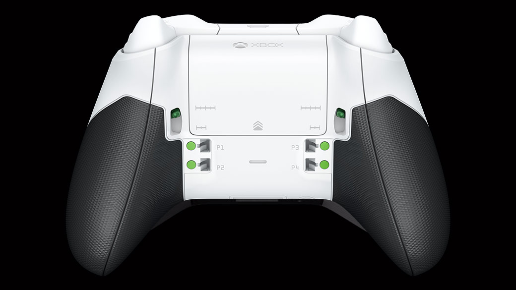 Back view of the White Xbox Wireless Elite Controller - showing rubberized grips and paddle slots
