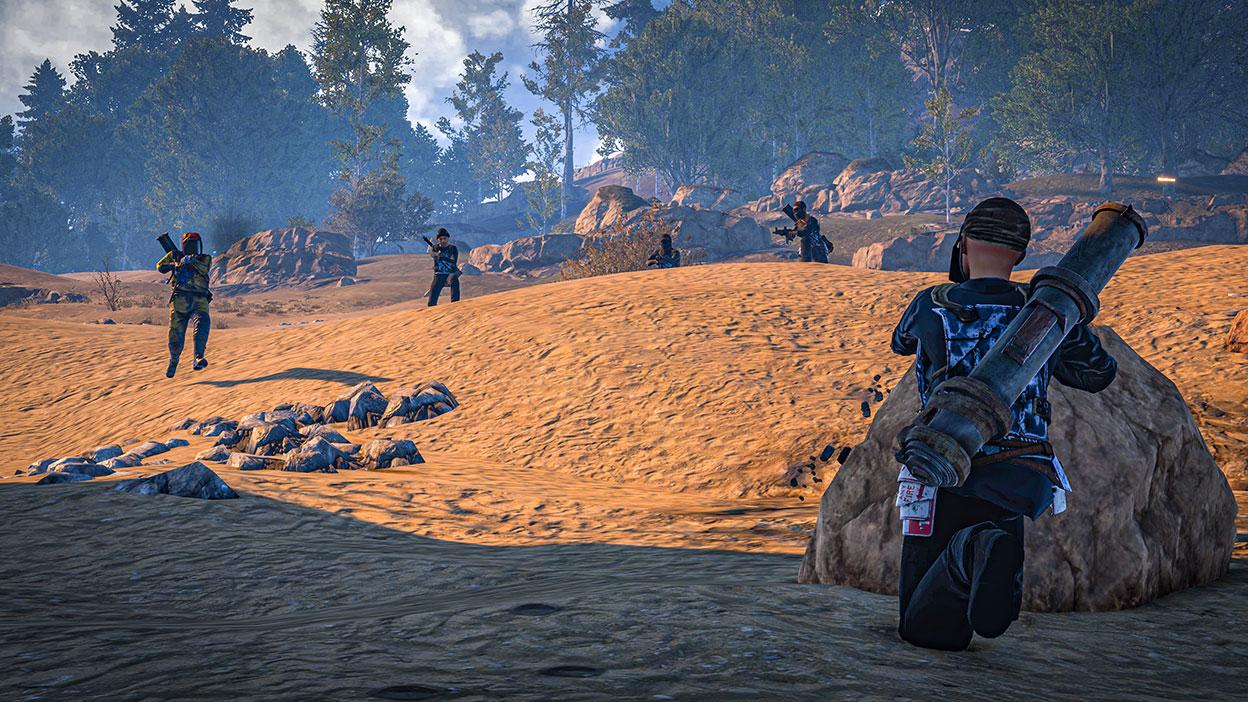 Five characters in a battle in an open dirt field.