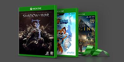 Shadow of war, Super Luckys Tale, Assassins Creed Origins boxshots
