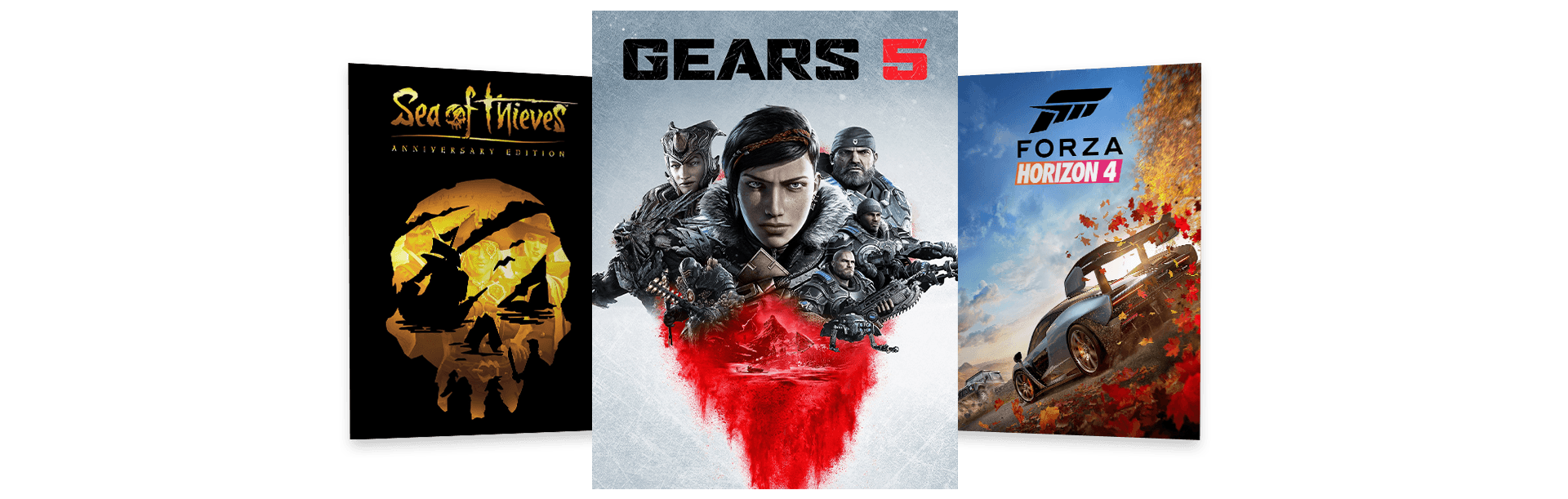 Gears 5, Sea of Thieves and Forza Horizon 4 box art arranged in a fan pattern