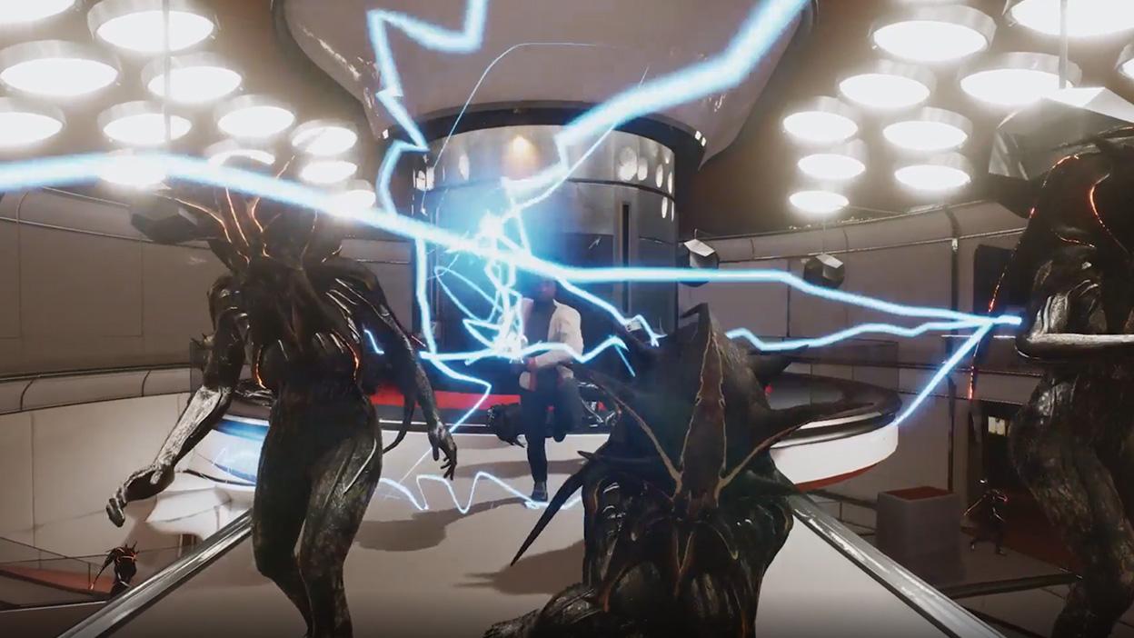 Monster greifen einen Spieler in einem elektrischen Sturm an.