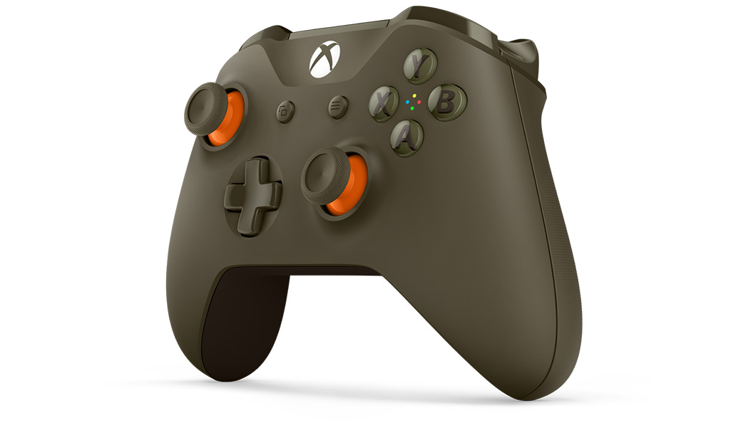 Left angle view of Green Orange Controller