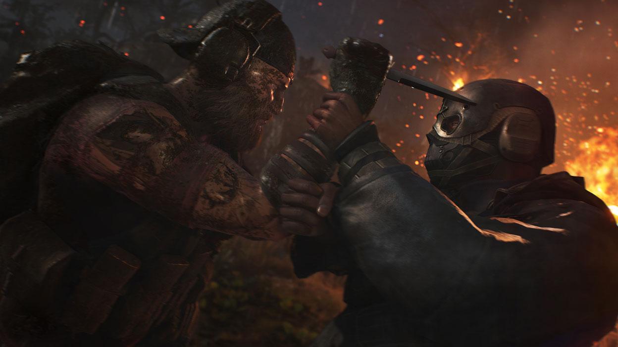 Uma personagem a tentar apunhalar uma pessoa com uma máscara com a sua faca