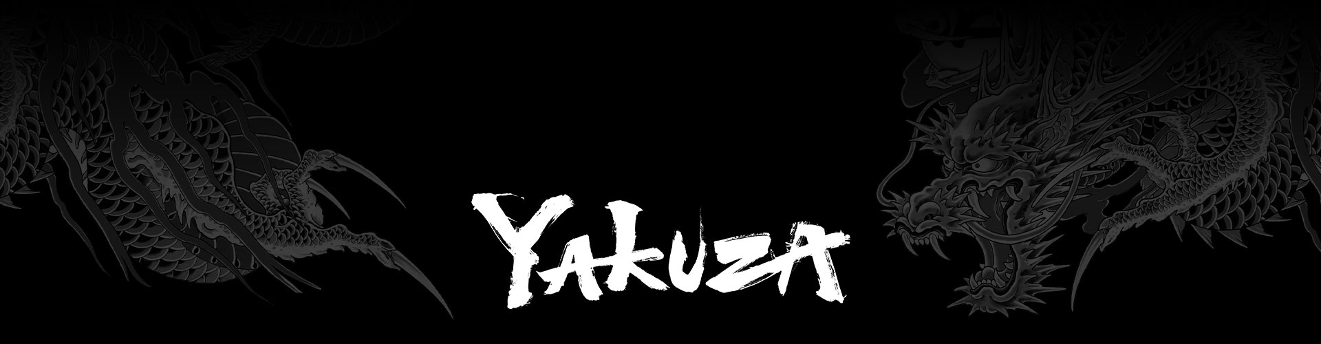 Yakuza franchise logo with a stylized grey dragon tattoo background.