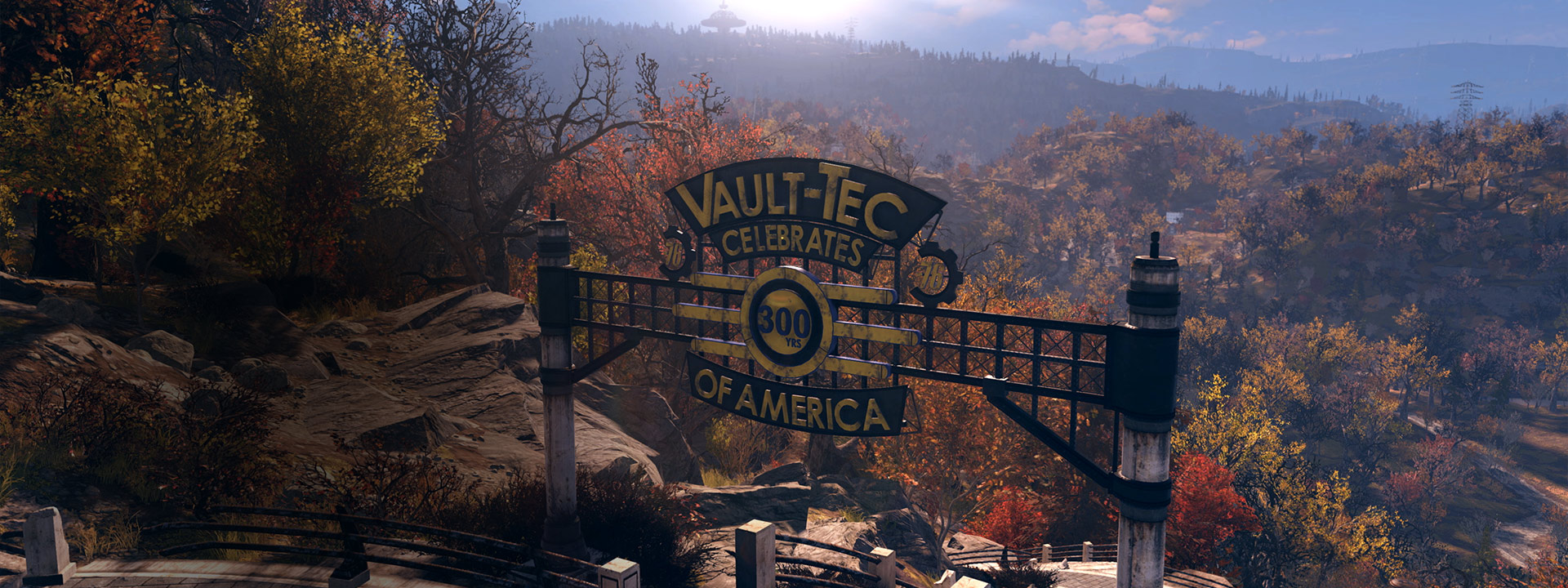 A Vault-tec sign celebrating 300 years of America outside vault 76