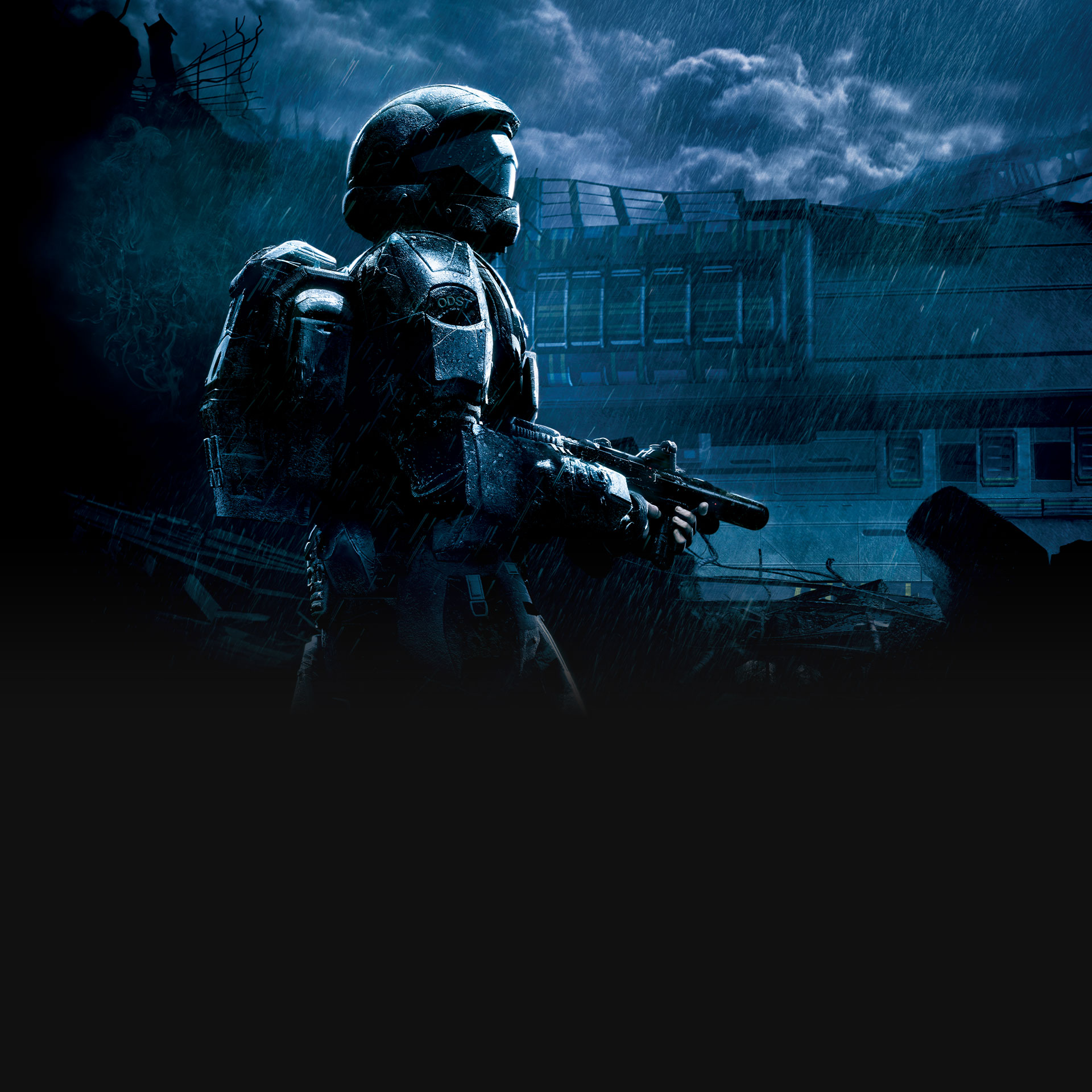 Halo 3: ODST, An ODST trooper holds a smg in the rain on New Mombasa