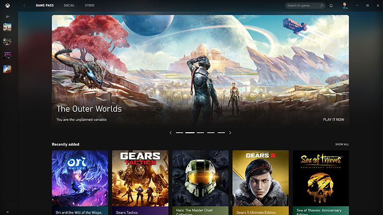 Screen capture of the Xbox App showing the Xbox Game Pass library