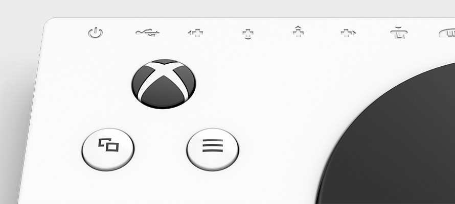 Detailed views of Xbox Adaptive Controller select and start buttons