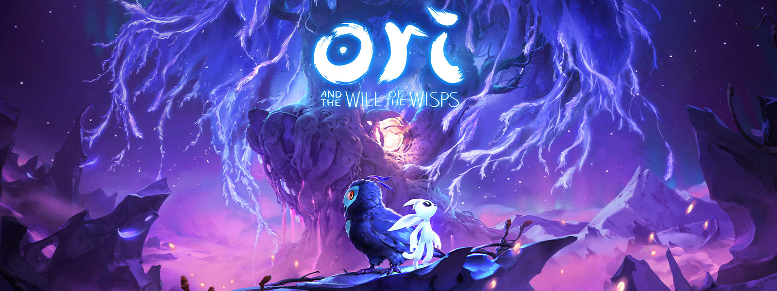 Ori and the Will of the Wisps, Ori står ved siden av ei ugle foran et underlig purpurrødt tre