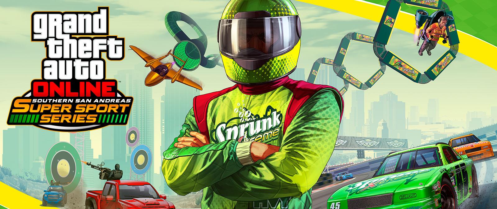 Grand Theft Auto Online Southern San Andreas Super Sports Series, el conductor de coches de carreras, Sprunk, se para con los brazos cruzados, delante de varios tipos de carreras.