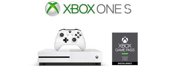 Xbox One S logo, Xbox One S console with 24-month Game Pass box