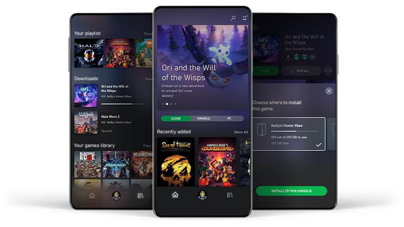 Trois téléphones montrant des exemples de l'interface de l'application mobile Xbox Game Pass