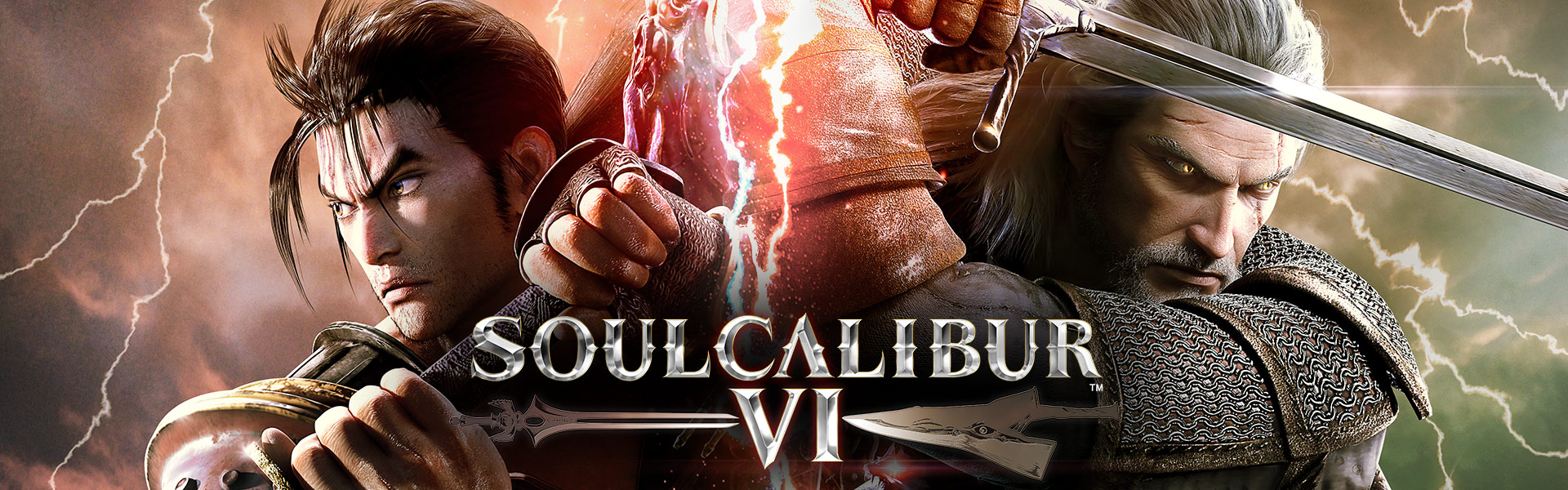 Soulcalibur VI, Heishiro Mitsurugi and Geralt of Rivia back to back with swords drawn