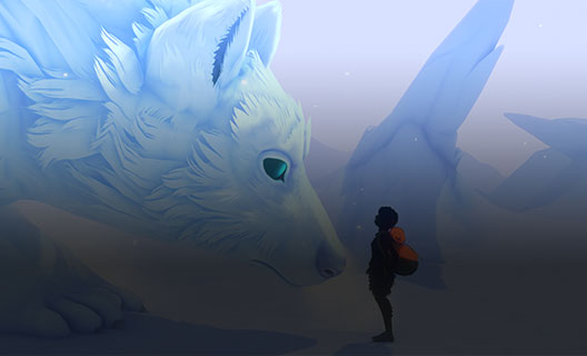A giant ice wolf crouches down to look at the main character of Sea of Solitude