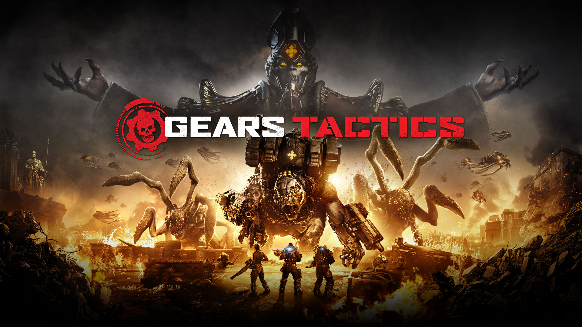 Gears Tactics logo, three characters in heavy armour face large monsters in a burning war zone