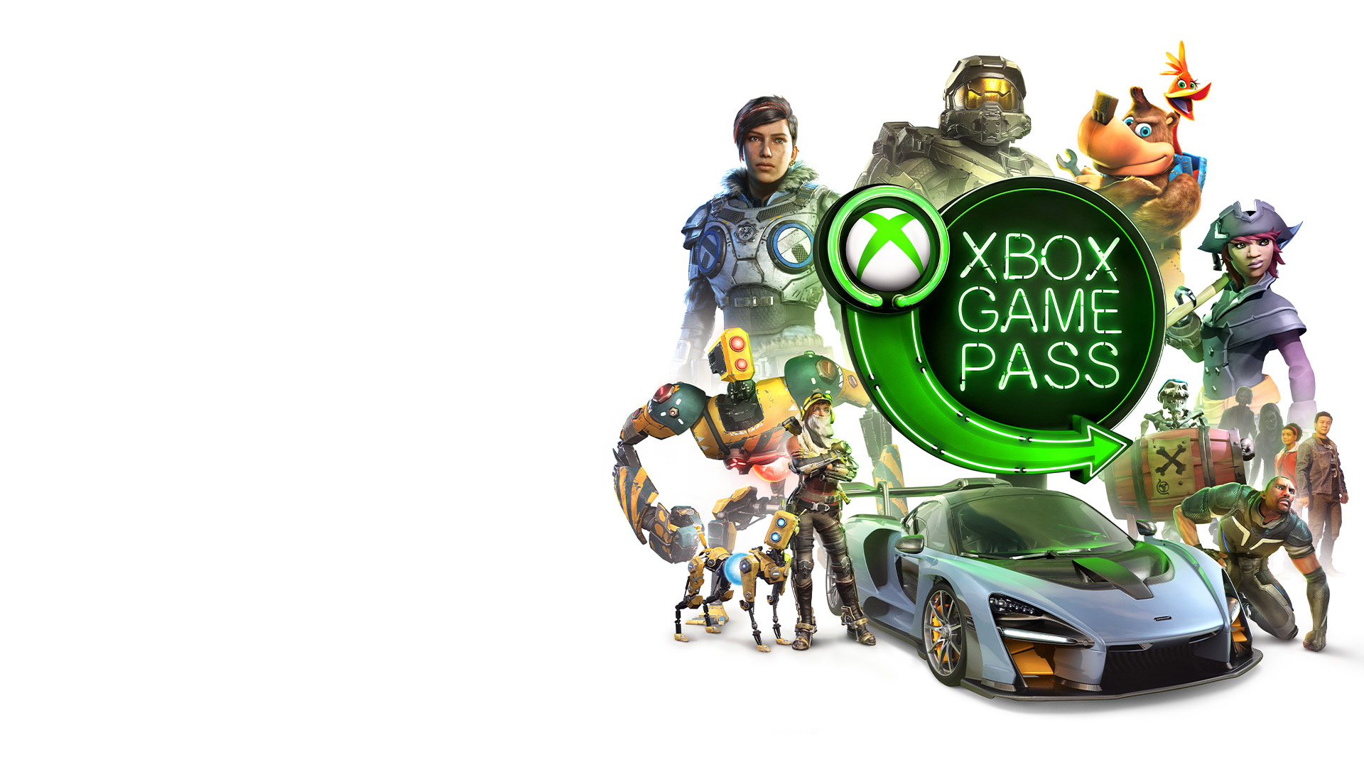 Game characters from Gears of War, Halo, Sea of Thieves, ReCore, and a McLaren supercar surrounding the Xbox Game Pass neon sign logo.