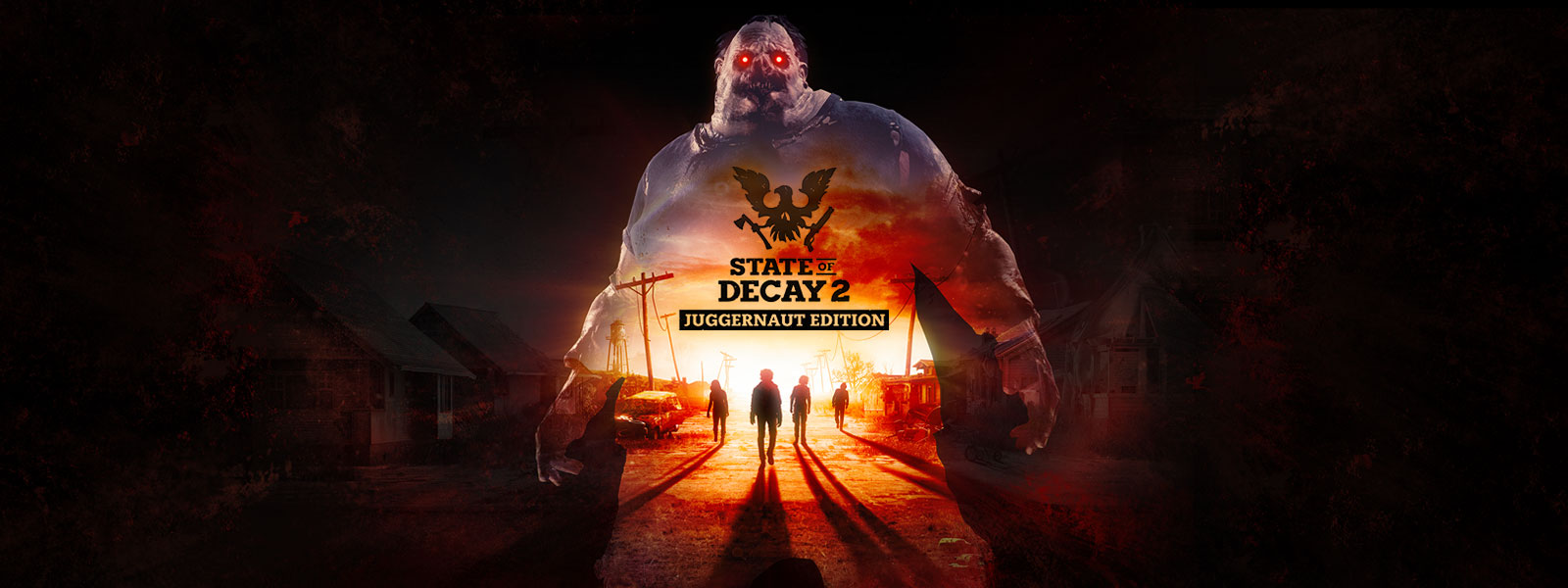 Overlay of the Juggernaut from State of Decay 2 Juggernaut Edition with zombies on a abandoned street
