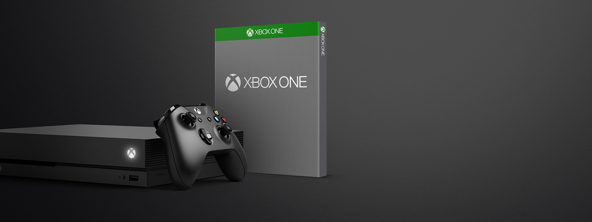 Xbox One X and controller with blank boxshot with the Xbox One logo