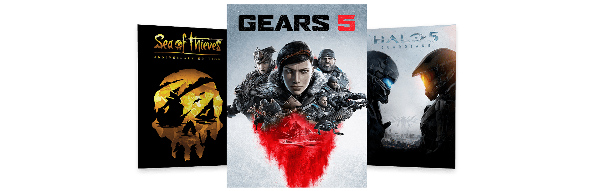 Gears 5, Sea of Thieves, and Halo 5 Guardians box art arranged in a fan pattern