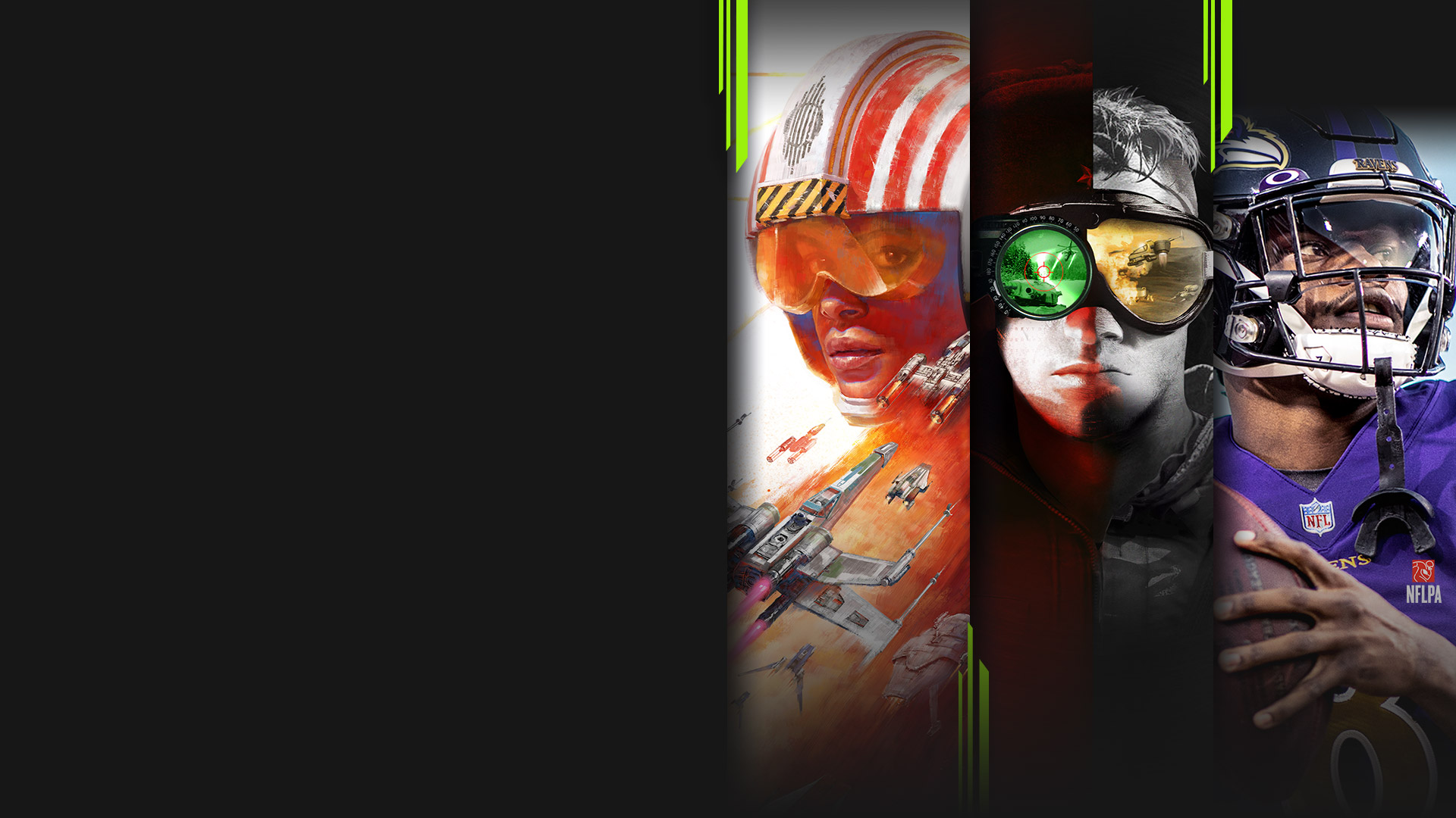 Game art from multiple EA Play titles available with Xbox Game Pass, including Star Wars: Squadrons, Command & Conquer Remastered Collection, Madden NFL 21 and The Sims 4.
