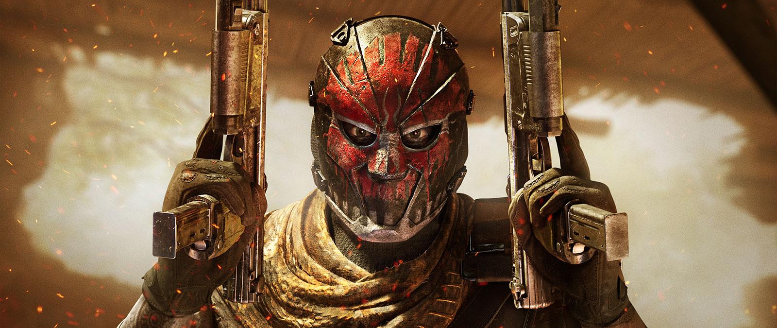 Postava v červené a černé masce drží dvě zbraně ve vzduchu, před otvorem s jiskrami létajícími okolo nich
