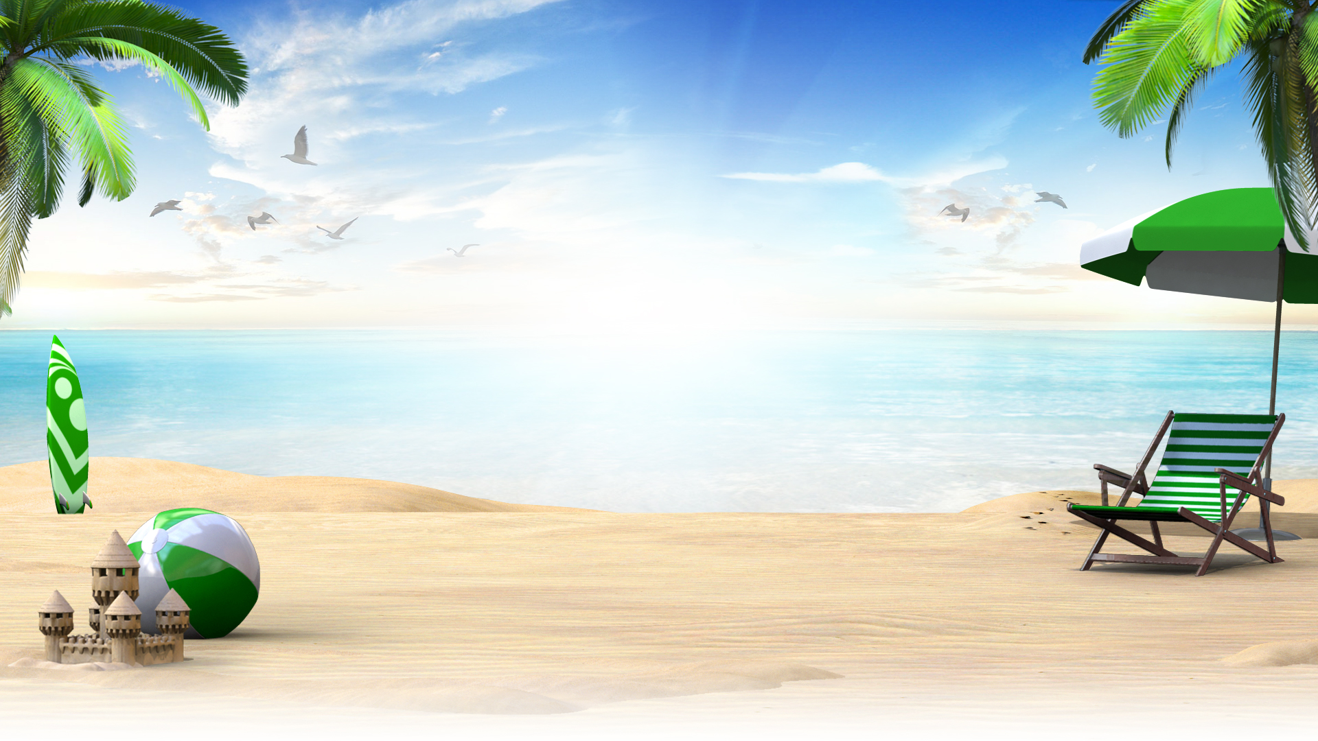 A tranquil beach scene with with seagulls flying over clear turquoise water