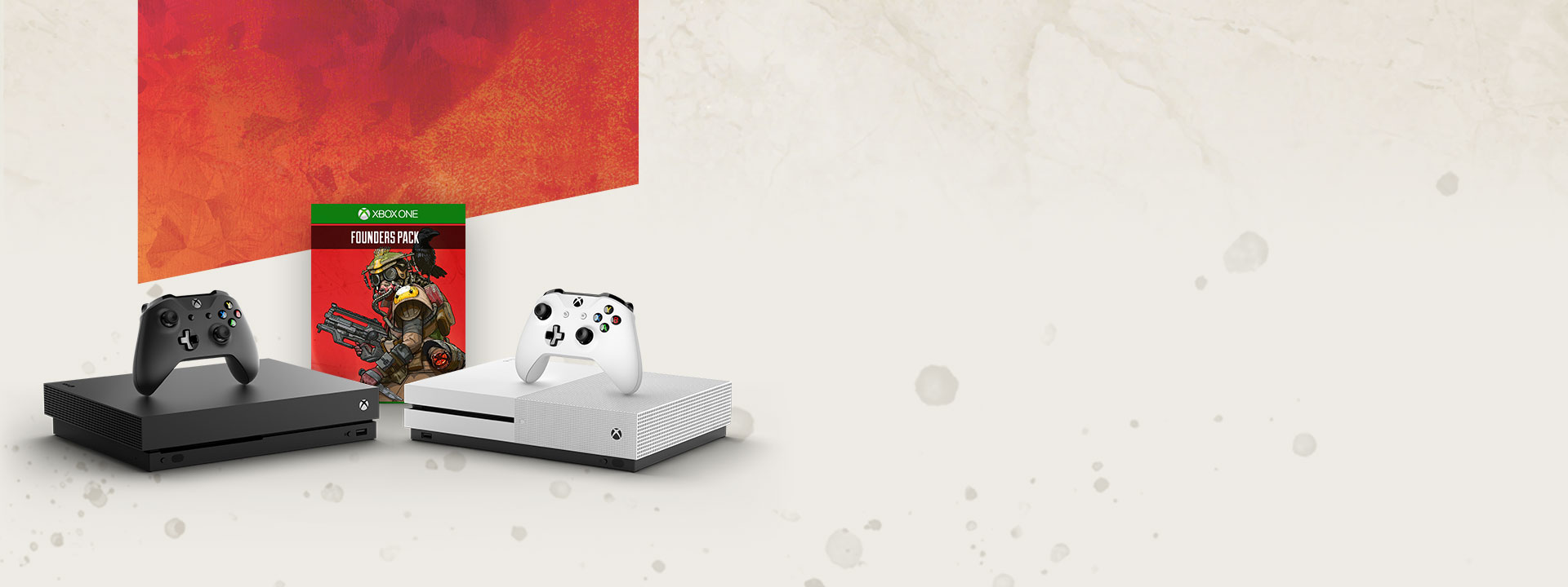 A black Xbox One X and white Xbox One S in front of a box shot of the Apex Legends Founders pack. The consoles and game are on a beige background that features dark speckles and a banner from Apex Legend's key visual