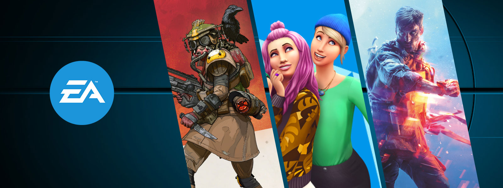 A collage of EA games on sale. Apex Legends Founder's Pack, The Sims, and Battlefield 5.