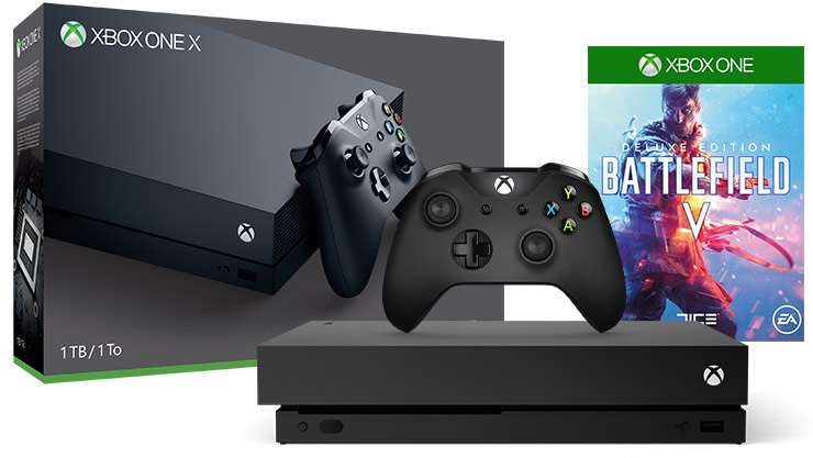 Front view of Xbox One X Battlefield V Bundle 1 terabyte