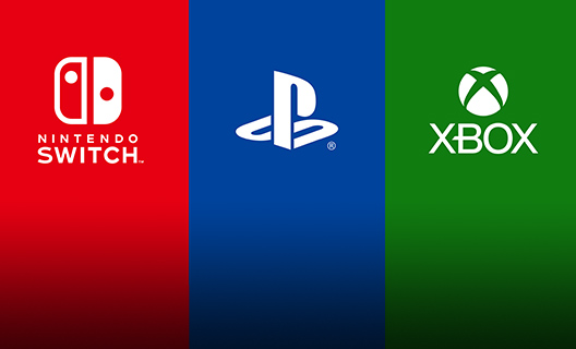 Logo's voor Nintendo Switch, Sony Playstation en Xbox.