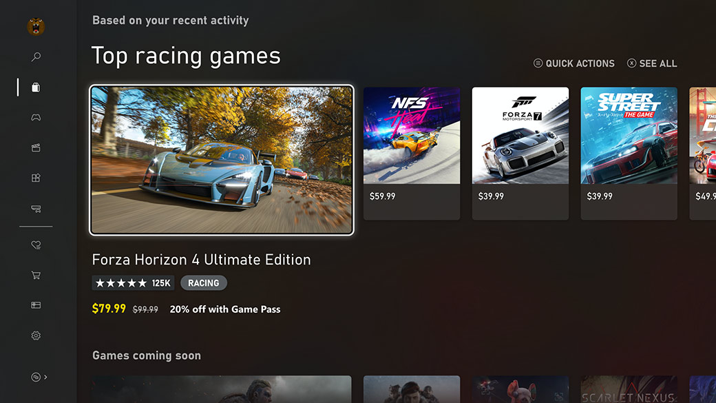 The new Microsoft Store. This screen shows Top racing games such as Forza Horizon 4.