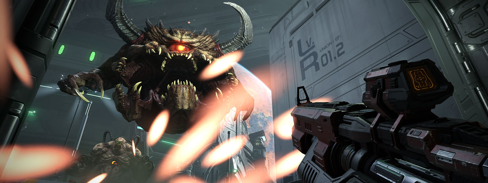 Character fighting a monster with horns, many teeth and one eye with another monster with large guns in the background