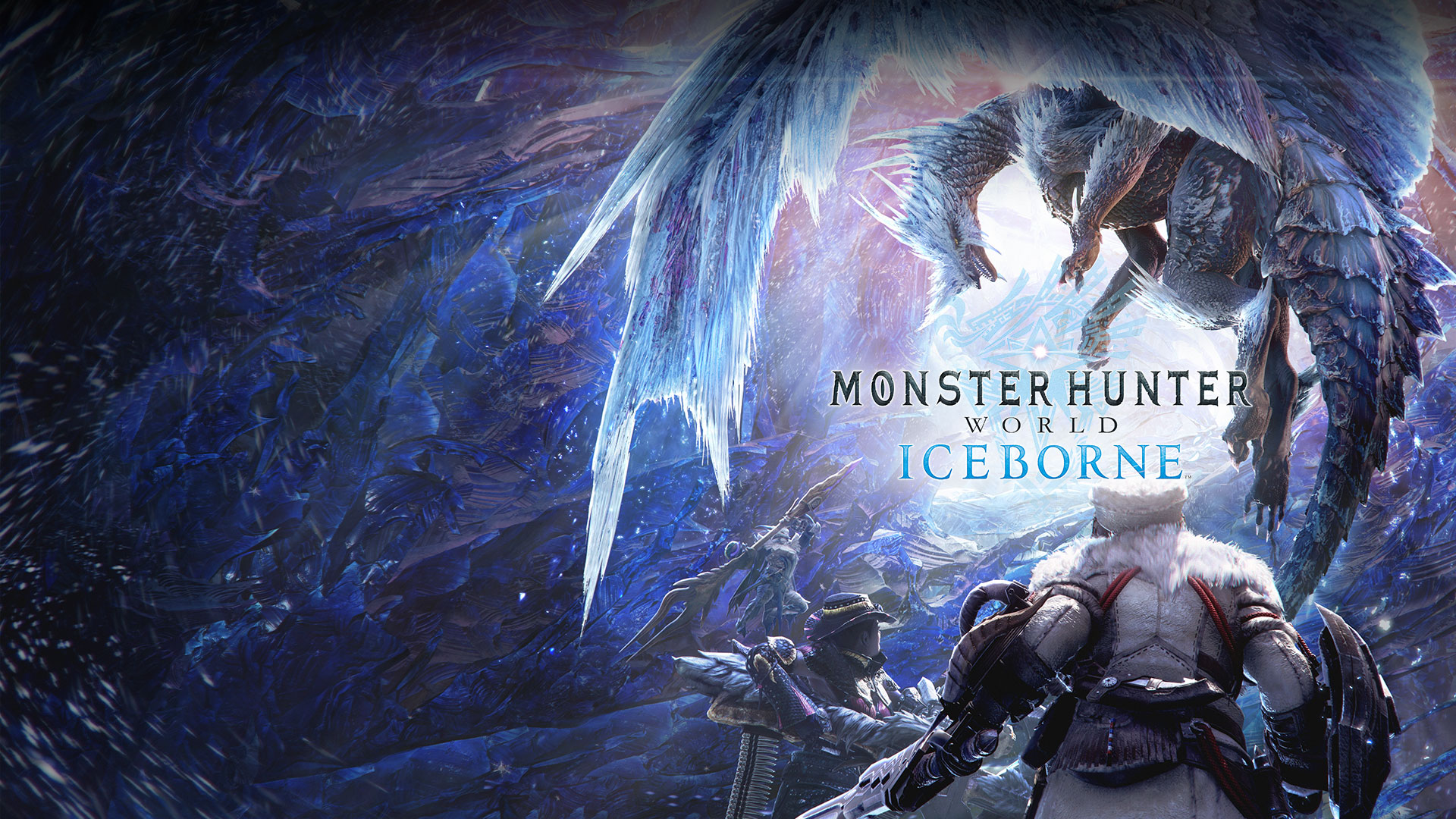 Monster Hunter World Iceborne, Monster hunters face an ice dragon surrounded by large crystals