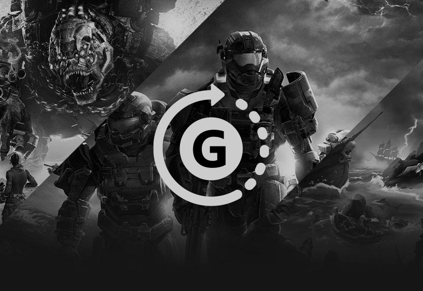 O ícone do Gamerscore sobre a arte principal de Halo Reach, Gears Tactics e Sea of Thieves todo cinzento.