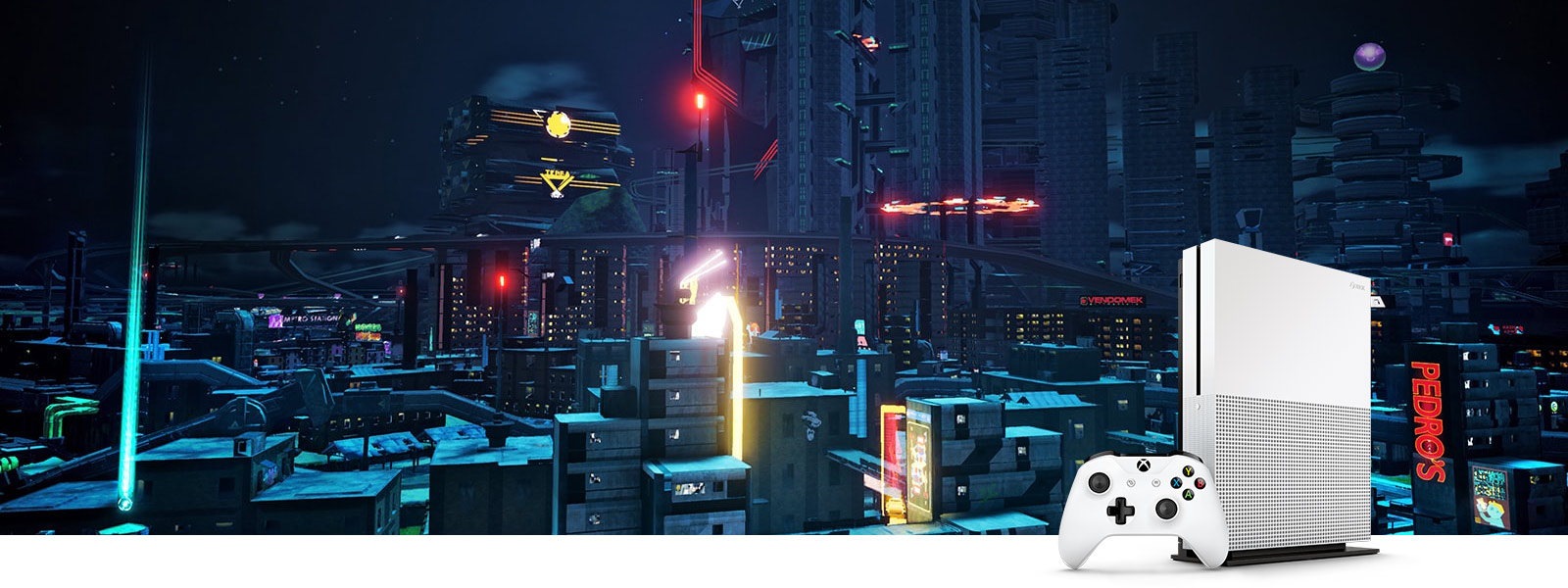 Crackdown 3 cityscape screenshot and Xbox One S vertical console with controller, viewed with high dynamic range (HDR)
