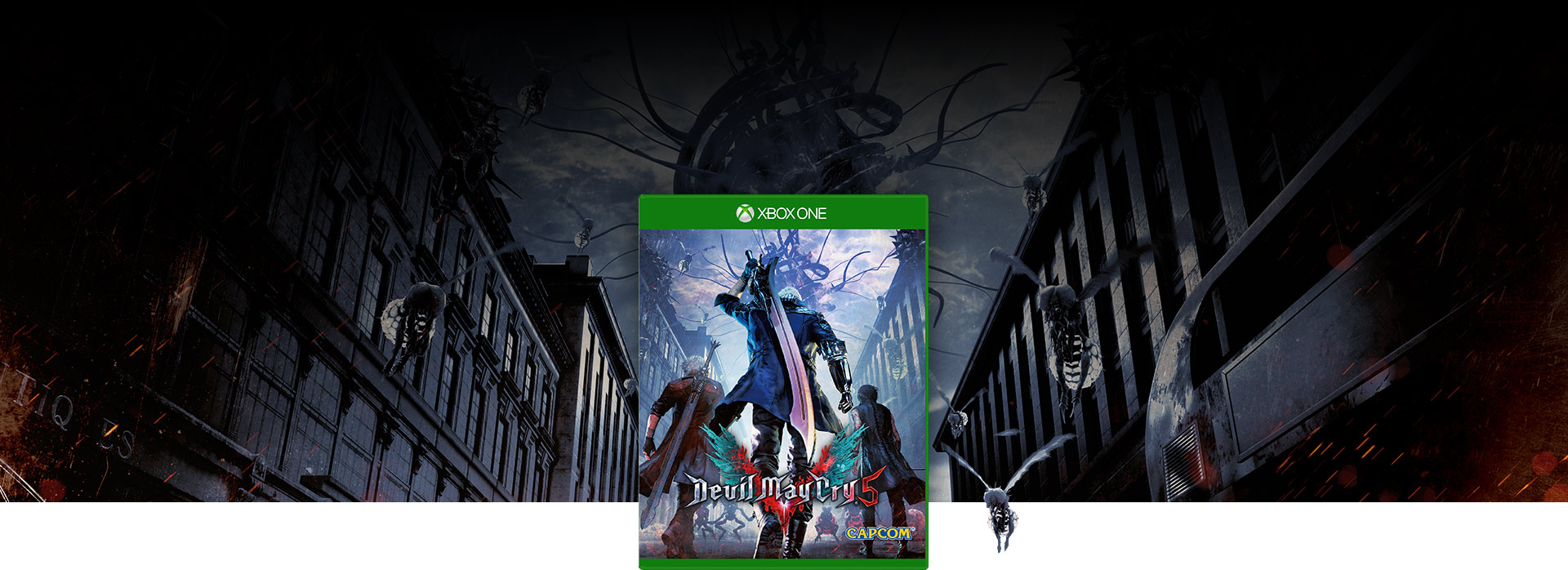 Devil May Cry 5 boxshot, insects fly around in a deserted city