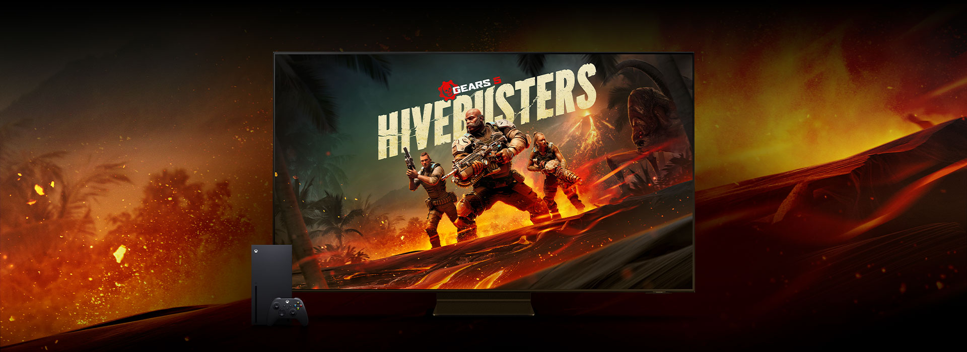 Gears 5, Hivebusters, A flat screen Samsung TV with a Gears 5 screenshot sits next to an Xbox Series X against a fiery background.