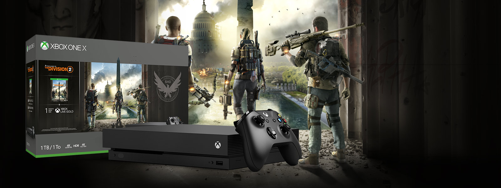 Console Xbox One X devant une boîte du pack avec une illustration de Tom Clancy's The Division 2
