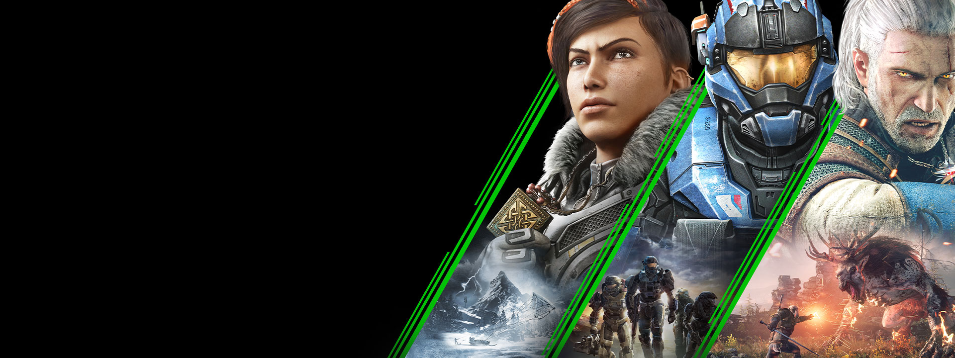 Characters from games available on Xbox Game Pass for PC, including The Outer Worlds, Gears 5, and Halo Reach.