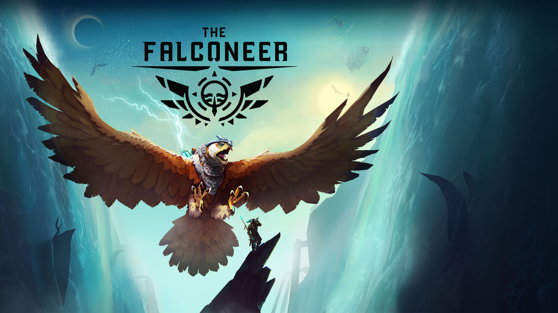 The Falconeer, a giant falcon stretches its wings behind a standing Rider.