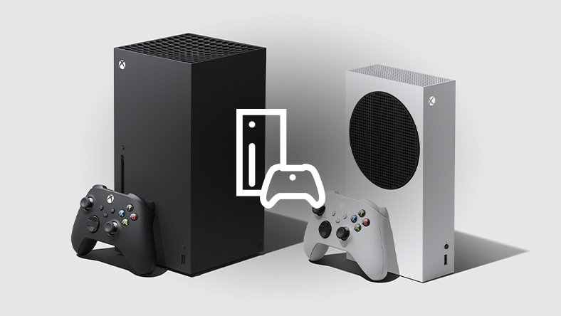 Xbox Series X and Xbox Series S consoles with controllers and a console icon